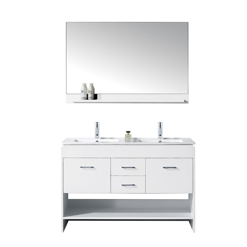 "Virtu USA Gloria 48"" Double Bathroom Vanity in White w/ Slim White Ceramic Top & Square Sink w/ Polished Chrome Faucet & Mirror"