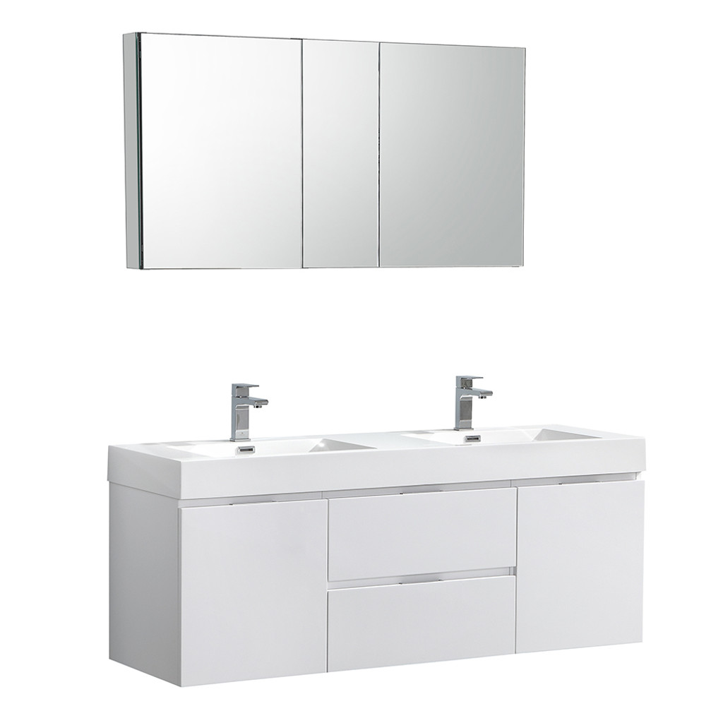 Fresca Valencia 60 Glossy White Wall Hung Double Sink Modern