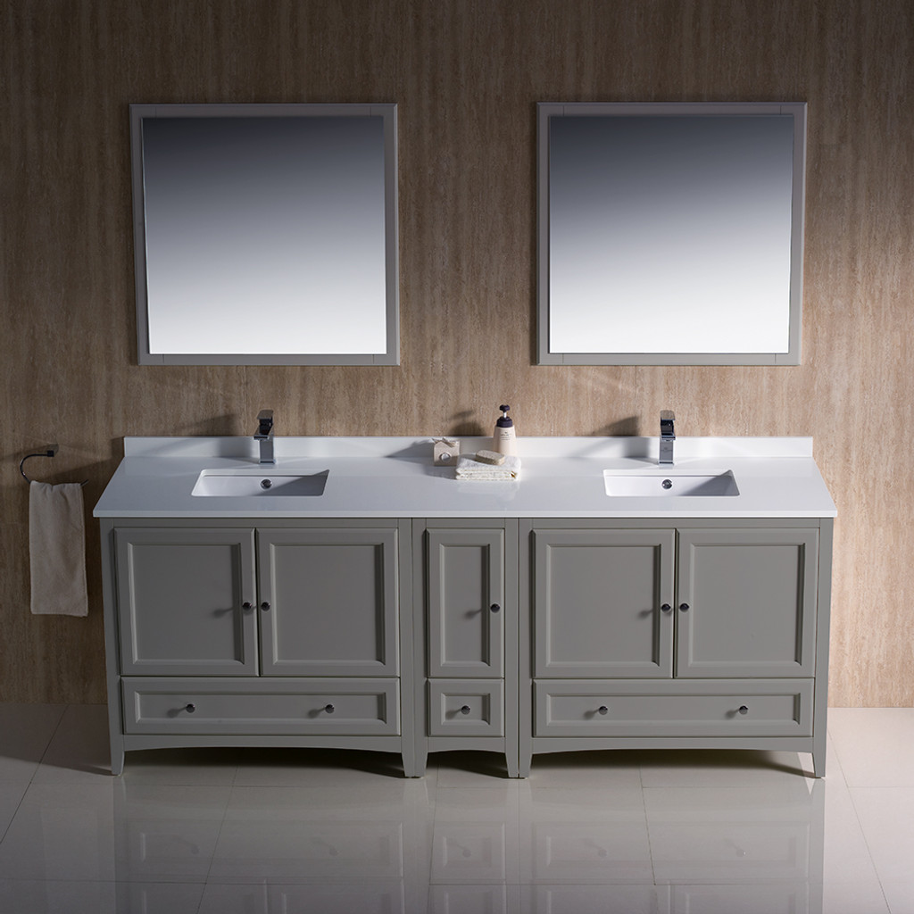Traditional double sink bathroom vanities 84 Inch Modern Bath House Fresca Oxford 84