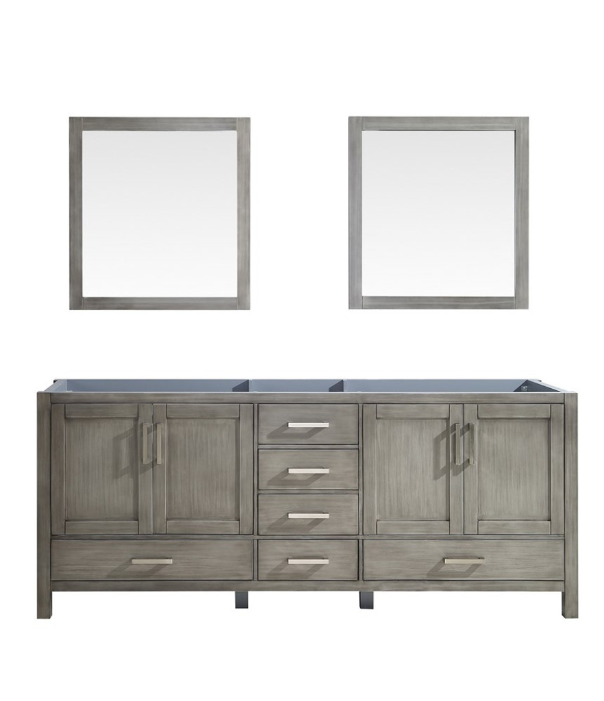 """Lexora Jacques 80"""" Distressed Grey Double Vanity 