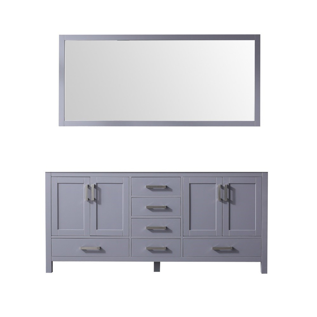 "Lexora Jacques 72"" Dark Grey Double Vanity 