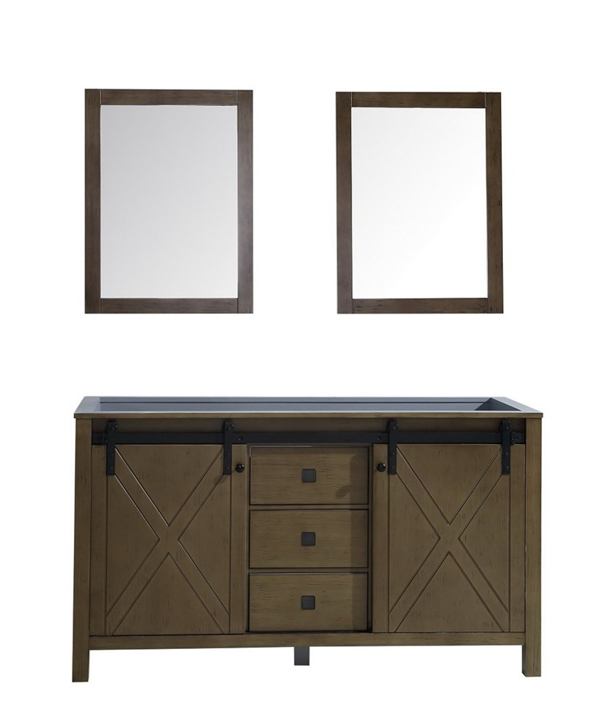 "Lexora Marsyas Veluti 60"" Rustic Brown Double Vanity 