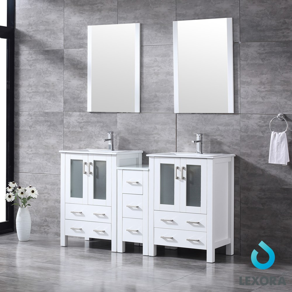 """Lexora Volez 60"""" White Double Vanity Set 
