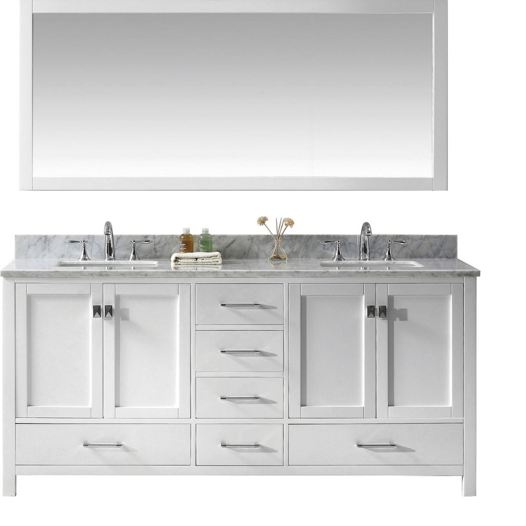 "Virtu USA Caroline Avenue 72"" Double Bathroom Vanity Set in White"