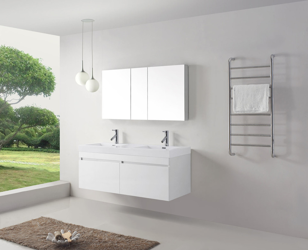 Virtu USA Zuri 55 Double Bathroom Vanity Set in Gloss White w/ Polymarble Counter-Top