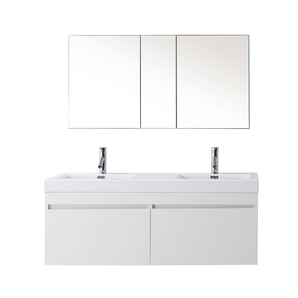 "Virtu USA Zuri 55"" Double Bathroom Vanity Set in Gloss White w/ Polymarble Counter-Top"