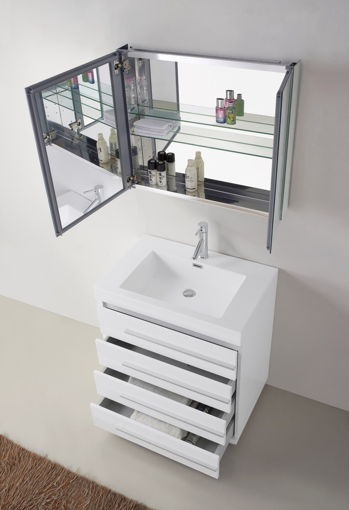 "Virtu USA Bailey 30"" Single Bathroom Vanity Set in Gloss White w/ Polymarble Counter-Top"