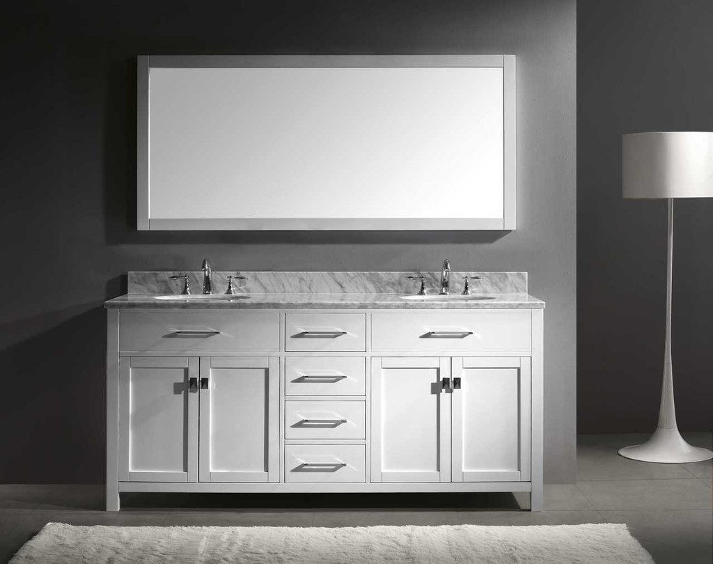 "Virtu USA Caroline 72"" Double Bathroom Vanity Set in White w/ Italian Carrara White Marble Counter-Top 