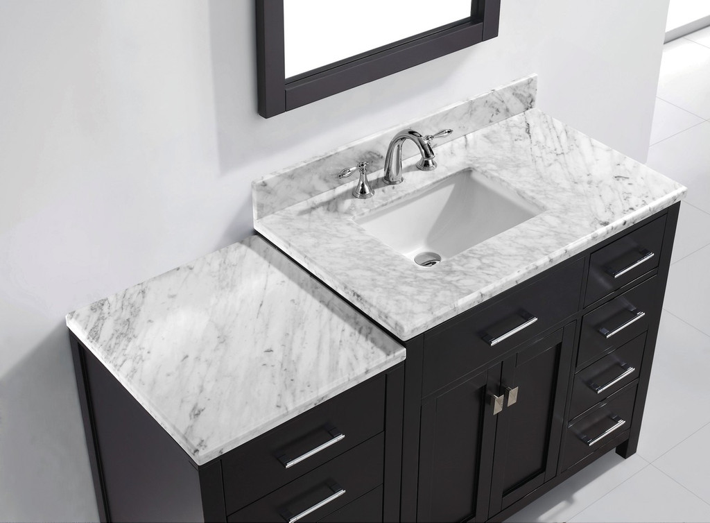 Virtu USA Caroline Parkway 57 Single Bathroom Vanity Set in Espresso w/ Italian Carrara White Marble Counter-Top | Square Basin