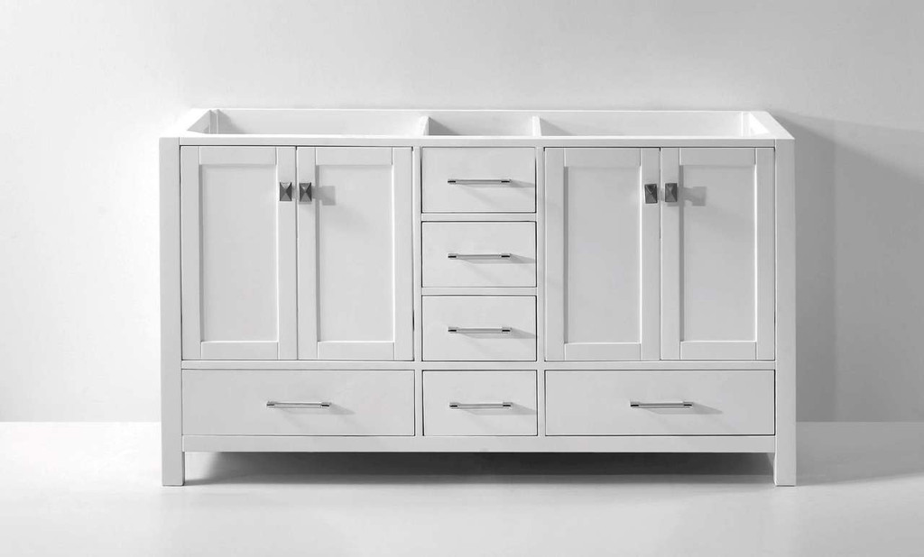 "Virtu USA Caroline Avenue 60"" Bathroom Vanity Cabinet in White"