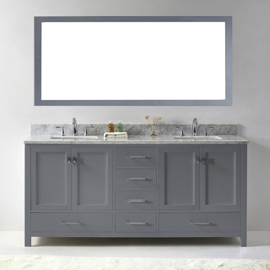 Virtu USA Caroline Avenue 72 Double Bathroom Vanity Set in Grey w/ Italian Carrara White Marble Counter-Top | Square Basin