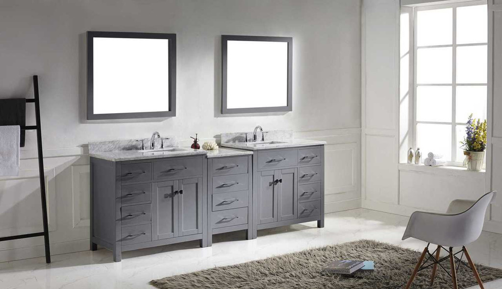 Virtu USA Caroline Parkway 93 Double Bathroom Vanity Set in Grey w/ Italian Carrara White Marble Counter-Top | Square Basin