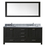 "Virtu USA Caroline Premium 60"" Double Bathroom Vanity Set in Zebra Grey w/ Italian Carrara White Marble CounterTop 