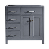 "Virtu USA Caroline Parkway 36"" Single Bathroom Vanity Cabinet in Grey"