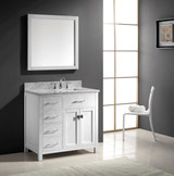 "Virtu USA Caroline Parkway 36"" Single Bathroom Vanity Set in White"