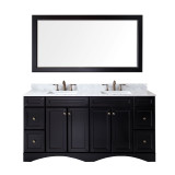 "Virtu USA Talisa 72"" Double Bathroom Vanity Set in Espresso w/ Italian Carrara White Marble Counter-Top 
