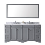 "Virtu USA Talisa 72"" Double Bathroom Vanity Set in Grey w/ Italian Carrara White Marble Counter-Top 