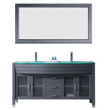 """Virtu USA Ava 63"""" Double Bathroom Vanity Set in Grey w/ Tempered Glass Counter-Top 
