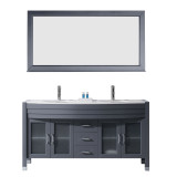 "Virtu USA Ava 63"" Double Bathroom Vanity Set in Grey w/ White Stone Counter-Top 