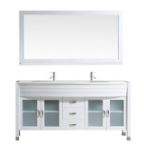"Virtu USA Ava 63"" Double Bathroom Vanity Set in White w/ White Stone Counter-Top 