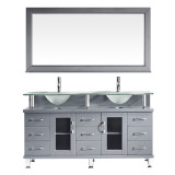 "Virtu USA Vincente Rocco 59"" Double Bathroom Vanity Set in Grey w/ Frosted Glass Counter-Top 