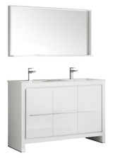"Fresca Allier 48"" White Modern Double Sink Bathroom Vanity w/ Mirror"