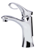 The smooth and flowing lines of this faucet create a warm and inviting appearance. The slight curl in the handle not only makes it look good, but also permits easy operation of the tap with a natural movement.