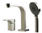 ALFI brand AB2703-BN Brushed Nickel Deck Mounted Tub Filler and Round Hand Held Shower Head