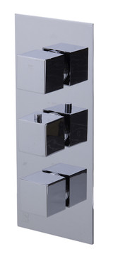 ALFI brand AB2801-PC Polished Chrome Concealed 3-Way Thermostatic Valve Shower Mixer Square Knobs