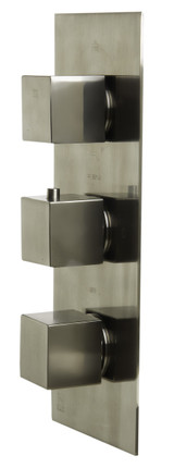 ALFI brand AB2901-BN Brushed Nickel Concealed 4-Way Thermostatic Valve Shower Mixer /w Square Knobs