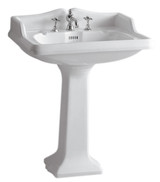 Whitehaus AR834-AR805-1H Single Hole China Pedestal Sink with an Integrated Oval.