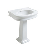Whitehaus LA10-LA03 Traditional Pedestal with Integrated Oval Bowl and Rear Overflow Single Faucet Hole.