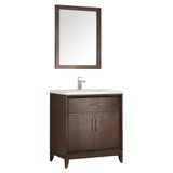 "Fresca Cambridge 30"" Antique Coffee Traditional Bathroom Vanity w/ Mirror"