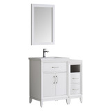 "Fresca Cambridge 36"" White Traditional Bathroom Vanity w/ Mirror"