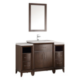 "Fresca Cambridge 48"" Antique Coffee Traditional Bathroom Vanity w/ Mirror"