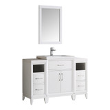 "Fresca Cambridge 48"" White Traditional Bathroom Vanity w/ Mirror"