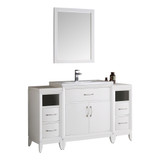 "Fresca Cambridge 54"" White Traditional Bathroom Vanity w/ Mirror"