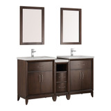 "Fresca Cambridge 60"" Antique Coffee Double Sink Traditional Bathroom Vanity w/ Mirrors"