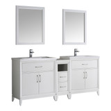 "Fresca Cambridge 72"" White Double Sink Traditional Bathroom Vanity w/ Mirrors"