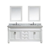 "Design Element Hudson 72"" Double Sink Vanity Set in White with White Carrara Marble Countertop"
