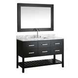 "London 54"" Single Sink Vanity Set in Espresso with White Carrera Marble Top"