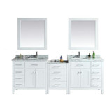 "Design Element London 92"" Double Sink Vanity Set in White"