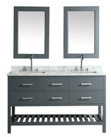 "London 72"" Vanity in Gray with Marble Vanity Top in Carrera White with White Basin and Mirror"