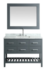 "London 48"" Vanity in Gray with Marble Vanity Top in Carrera White with White Basin and Mirror"