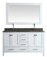 "London 60"" Vanity in White with Quartz Vanity Top in Gray with White Basin and Mirror"