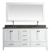 "London 72"" Vanity in White with Quartz Vanity Top in Gray with White Basin and Mirror"