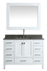 "London 48"" Vanity in White with Quartz Vanity Top in Gray with White Basin and Mirror"