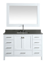 "London 54"" Vanity in White with Quartz Vanity Top in Gray with White Basin and Mirror"