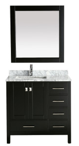 "London 36"" Vanity in Espresso with Marble Vanity Top in Carrera White with White Basin and Mirror"
