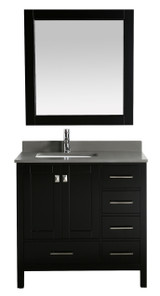 "London 36"" Vanity in Espresso with Quartz Vanity Top in Gray with White Basin and Mirror"